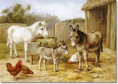 Edgar Hunt - Donkeys Pony And Chickens - Approximate Original Size - 11x15 Poster