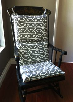 Rocking Chair Cushion Cover - Blue Grey Yellow Multi