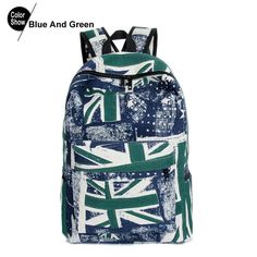Graffiti Backpack Women Canvas The Union Flag Printing Fashion School Bags For Teenagers