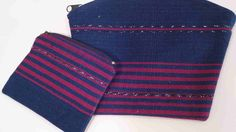 Cosmetic Bag / Coin Purse Set Fair Trade by EducationAndMore, $22.00 Beautiful Cosmetic Purse Pouch and Coin Purse set that was handwoven on a backstrap loom. The fabric is high quality textile in indigo blue and burgandy with ikat threads as an accent. You will be amazed that this fabric has been handwoven!