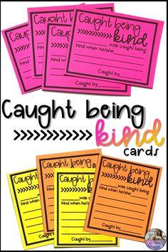 Caught Being Kind Cards - Klassenzimmer Management Teaching Kindness, Kindness Activities, 5th Grade Classroom, School Classroom, Classroom Decor, Future Classroom, Classroom Behavior Management, Behavior Plans, Behavior Charts