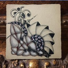 Stacking some favorite tangle patterns on a Zentangle Renaissance tile. I almost added more... but stopped. Enjoy the void. #tanglersofinstagram #creationunplugged #zentangle #learnzentangle #czt