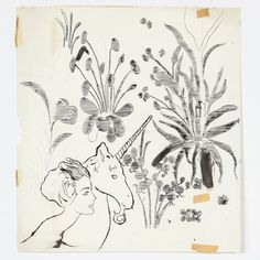 Andy Warhol, Female Head, Unicorn and Flowers, c. 1957, Ink and graphite on scrap paper, 24 x 21 5/8 inches (paper) (61 x 54.9 cm). © The Andy Warhol Foundation for the Visual Arts, Inc. Courtesy Anton Kern Gallery, New York