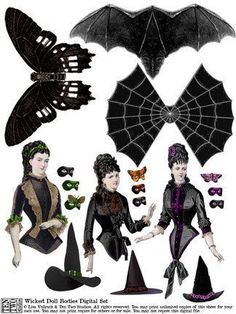 Wicked Doll Bodies More Vintage Halloween, Halloween Crafts, Halloween Doll, Vintage Paper Dolls, Victorian Paper Dolls, Victorian Dollhouse, Modern Dollhouse, Manualidades Halloween, Foto Transfer