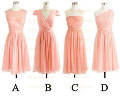 Apricot Peach Bridesmaid Dress Chiffon Bridesmaid by Simpledododo, $85.00
