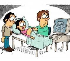 ¿Cómo va a ser este niño cuando crezca? - el ultrasonido, les saca la lengua, va a ser un malcriado, están sorprendidos / preocupados