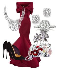 """""""Queen for the Night"""" by purplerose062 on Polyvore featuring Zac Posen, Christian Louboutin, Bloomingdale's, Mark Broumand, Van Cleef & Arpels, Alexander McQueen, women's clothing, women, female and woman"""