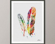 feather art feather painting feather watercolor by ZenioArt