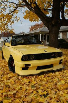 BMW E30 M3 yellow fall