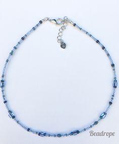 Blue Bright Choker, Small Choker, Beaded Choker, Beaded Necklace Beaded Choker, Necklace Lengths, Hippie Boho, Seed Beads, Chokers, Bright, Detail, Stylish, Pendant