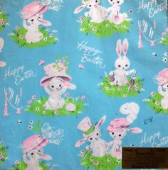 Bunnies Dress their Best- Dennison Vintage Wrapping Paper Gift Wrap. $8.25, via Etsy.