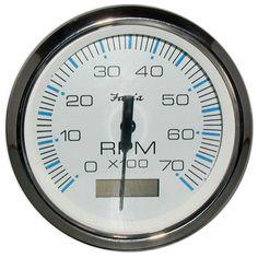 "Faria Chesapeake White SS 4"" Tachometer w/Hourmeter - 7,000 RPM (Gas - Outboard) - https://www.boatpartsforless.com/shop/faria-chesapeake-white-ss-4-tachometer-whourmeter-7000-rpm-gas-outboard/"