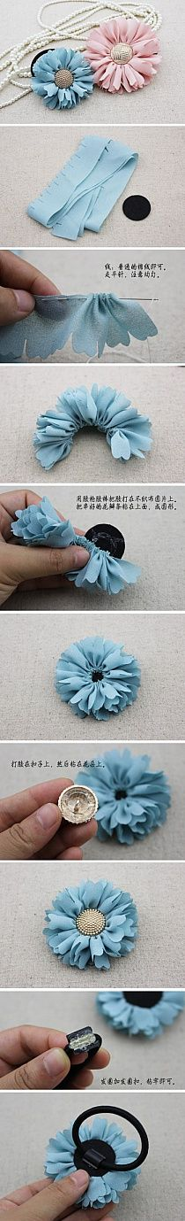 DIY Floral Hair Ties diy craft crafts diy crafts how to tutorials hair accessories Handmade Flowers, Diy Flowers, Fabric Flowers, Wedding Flowers, Diy Wedding, Fabric Bows, Button Flowers, Material Flowers, Cloth Flowers