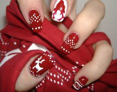 Red and white reindeer nails