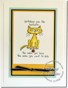Stampin Up Giggle Greetings cat/hairball fun from Diana Gibbs.