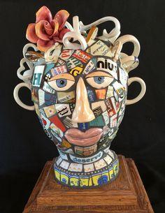 Mosaic teacup head. By Lora