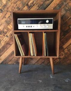 Mid Century Style Mini Credenza Record Stand walnut wood, hand made, plenty of storage for records or books custom pieces may take up to weeks to build and up to an additional 3 weeks to ship, please inquire for current wait times and shipping details Mid Century Modern Living Room, Mid Century Modern Decor, Mid Century Modern Furniture, Mid Century Style, Mid Century Design, Modern House Design, Modern Interior Design, Contemporary Interior, Modern Houses