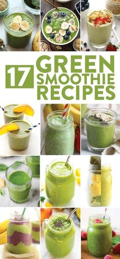 We love green smoothie recipes because you can drink your breakfast smoothie and get a serving of greens all in the same sitting. Don't be intimidated by the color, I promise there are many green smoothie recipes out there that hide the bitter taste of po Smoothie Recipes With Yogurt, Smoothie Recipes For Kids, Protein Smoothie Recipes, Breakfast Smoothie Recipes, Healthy Recipes, Healthy Smoothies, Healthy Snacks, Smoothies For Lunch, Kale And Spinach Smoothie