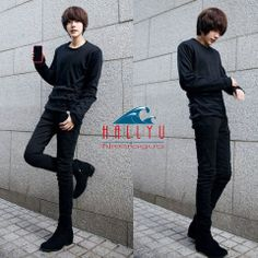 Korean Style Narrow Feet Black Skinny Jeans For Men