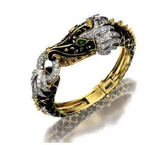 18K Gold, Enamel and Diamond Dragon Bangle-Bracelet, David Webb