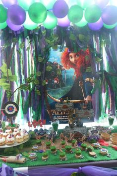 Brave birthday party dessert table, backdrop and treats! See more party planning ideas at CatchMyParty.com!
