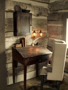 Interior Decoration:Very Impressive Primitive Home Decorating Ideas Primitive Home Office Decorating Ideas With Black Stained Wood Desk Table Also High Rest Beck Comfy Upholstered Office Chair Also Rustic Wooden Wall And Antique Iron Desk Lamp
