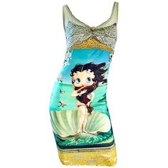 Vintage Eletra Casadei 90s Size Large Betty Boop Birth of Venus Novelty Dress Peter Pan Dress, Turquoise Fashion, Vintage Clothing For Sale, Designer Evening Dresses, Betty Boop, Dress Brands, New Dress, Vintage Outfits, Vintage Dresses