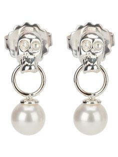 Silver drop pierced earrings from Delfina Delettrez featuring skull and faux pearl detail.