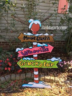 Grinch Yard Art Whoville Village sign Hand painted by HashtagArtz Grinch Party, Le Grinch, Grinch Christmas Party, Christmas Yard Art, Christmas Wood, Christmas Holidays, Grinch Stuff, Xmas, Grinch Decorations