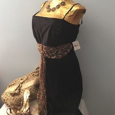 """Jonathan Martin StudioCotton Dress NWT Spaghetti straps. Bodice lined in front & elastic in back. See pic #3. Animal print sash in front. Length from seam under arm to bottom of dress 32"""".  8"""" slit @ bottom of in back. Bust 32"""" plus elastic in back stretches up to 36"""". Waist 32"""". 97% cotton / 3% spandex. Runs small Jonathan Martin Studio Dresses"""