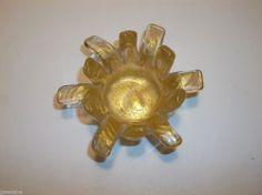 "Vintage MURANO Art Glass FLOWER GOLD Aventurine BOWL Ashtray PIN TRAY 3.5"""
