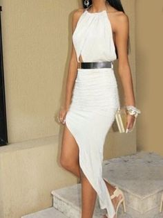 8494442107 White Halter Top Backless Maxi Asymmetrical Dress