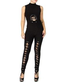 Lace-Up Cutout Jumpsuit