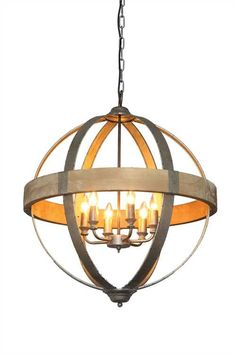 "This dressed up pendant lamp combines the geometric dimension of diamonds and circles to create an interesting take on a simple lighting concept. 26-1/4"" Round Metal & Wood Pendant Light w/ 6 Lights ("