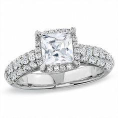 Zales 2-1/2 CT. T.W. Certified Framed Princess-Cut Diamond Engagement Ring in 14K White Gold