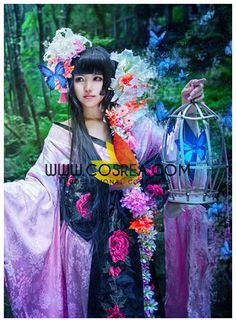 Costume Detail Clamp XXXholic Yuuko Ichihara Pink Brocade Cosplay Costume Includes - Kimono Set, Waist Band, Headdress This costume have complex details and custom fabric and will require extended pro