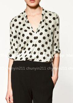 White Dot Print Long Sleeve Shirt