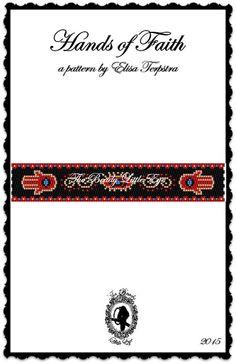Peyote Pattern Bracelet Peyote Stitch Beading Pattern Bracelet Pattern Tutorial Religious Print Fatima Hand Evil Eye HANDS OF FAITH Pattern