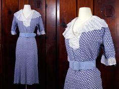 1930s dress / 30s plus size dress / blue printed organza lace swiss dot vintage dress / XL