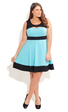 City Chic PEEK A BOO SKATER DRESS-Women's Plus Size Fashion