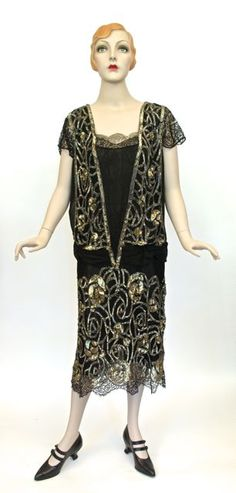 """14.07.06 Dress, silk, lace, sequins, metallic lace, """"Made in France"""", belonged to donor's grandmother, c. 1925-1926, donor: Jennifer Earle"""