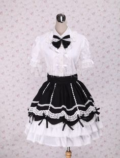 Sweet Black White Lolita Skirt with Ruffles and Lace Trim