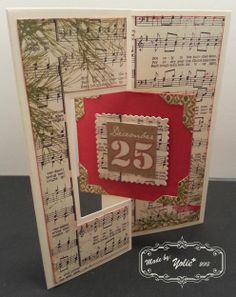 """Holiday Postage Stamp square flip-it card. Dies: Sizzix/Stephanie Barnard. Paper: Authentique """"Festive"""". Stickers: Authentique and The Paper Studio."""