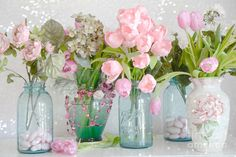 Shabby Chic Cottage Pink Blossoms Tulips And Aqua Blue Ball Jars And ...