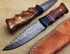 Damascus Hunting Knife Rose Wood Raindrop- T016