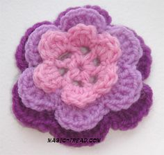 freecrochetflowerpattren.com | Layered flower — element of Irish lace and «friform crochet». For ...