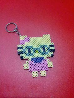 Hello Kitty keyring hama perler beads by Love Cupcoonka - www.facebook.com/hamabeadshobby