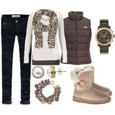 Pretty much what I wear everyday minus the puffy vest! Love it!!