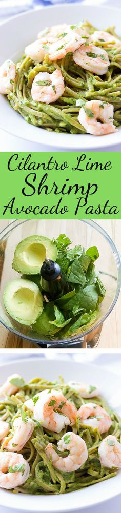 Cilantro Lime Shrimp and Avocado Pasta