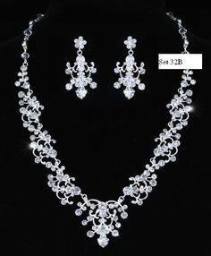 2 delige bruids sieraden set. zilver zirconia.